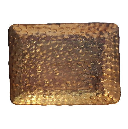 Hammered Gold Glass Platter