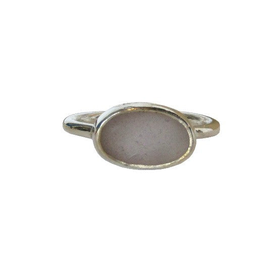 Grey Sea Glass Sterling Silver Ring