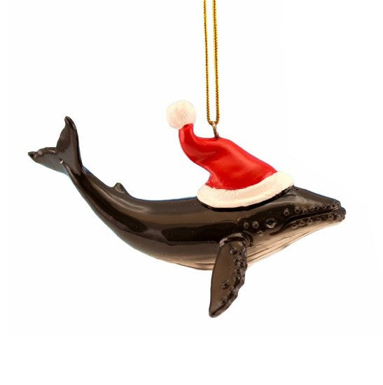 Humpback Whale with Santa Hat Ornament