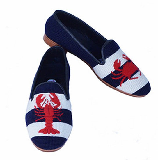 Lobster and Crab Needlepoint Loafer