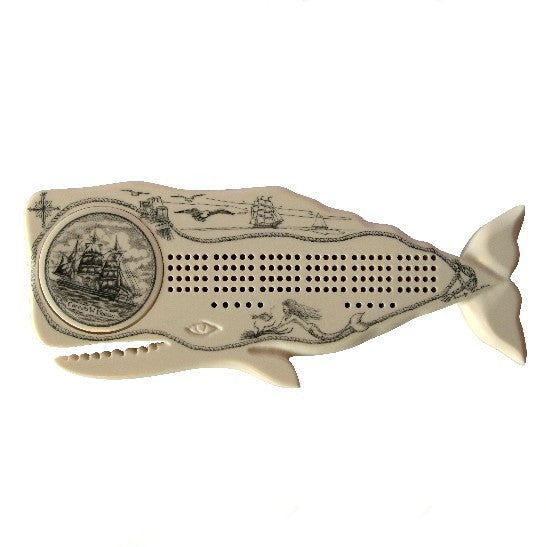 Charles W. Morgan & Whale Scrimshaw Cribbage Board