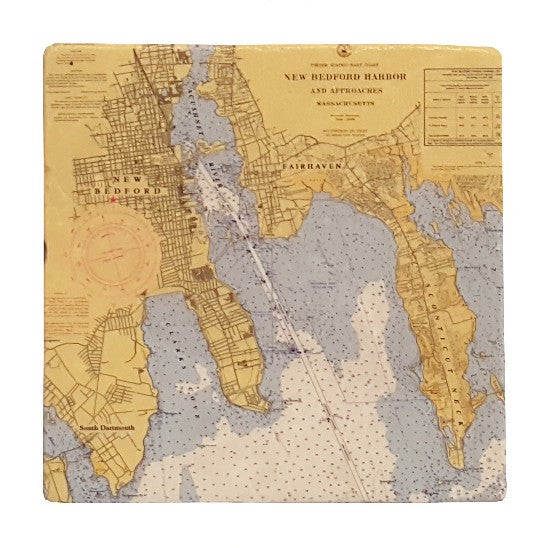 New Bedford Nautical Map Tile Coaster