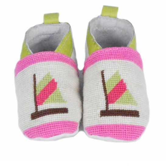 Green and Pink Sailboat Needlepoint Baby Booties