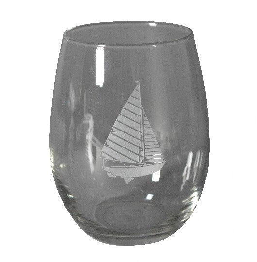 Sailboat Stemless Wine Glass