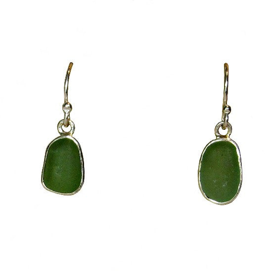 Green Sea Glass Sterling Silver Earrings