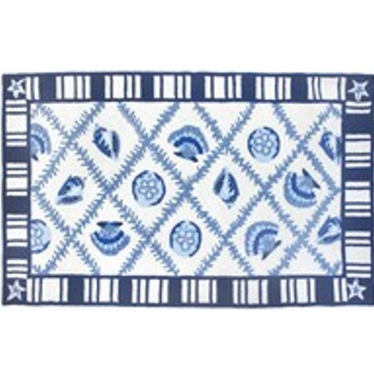 Striped Shells Accent Rug