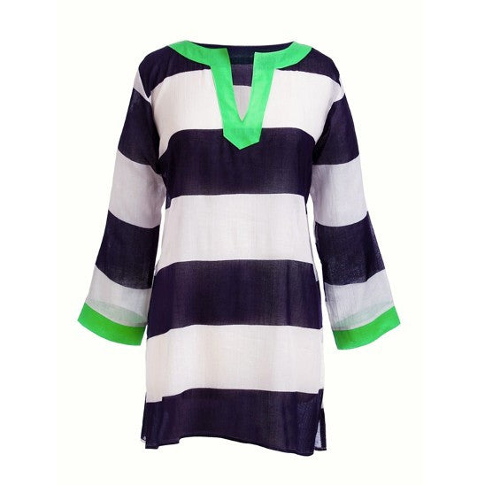 Ladies Navy Stripe Tunic Cover-up