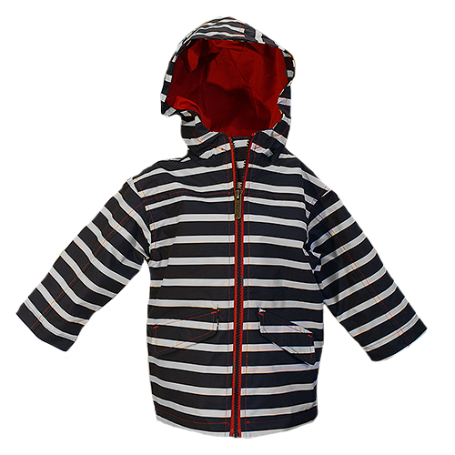Navy Stripes Rain Jacket