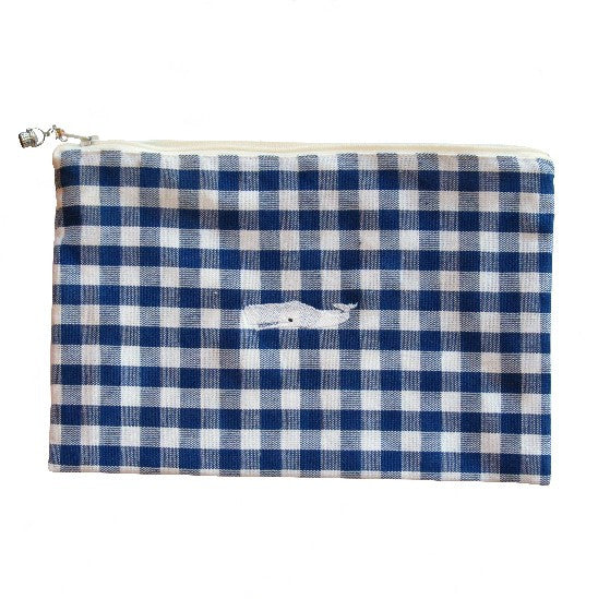 Blue Checked Zip-up Whale Bag