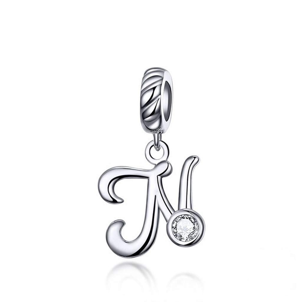 L2 SENFAI 26 Alphabet English Letters Crystal First Initial Name Charms for Bracelet,Necklace,Zipper Puller