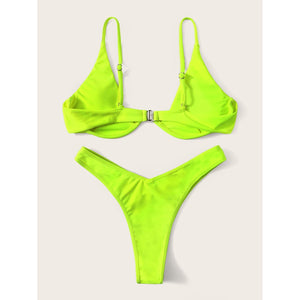 Underwire Top With High Leg Bikini Set