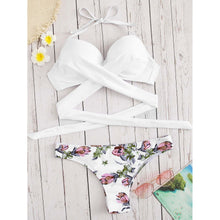 Load image into Gallery viewer, Push-up Top With Flower Print Bikini Set