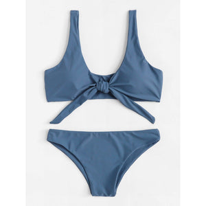 Knot Front Top With High Leg Bikini Set