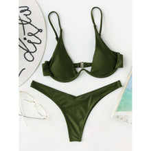 Load image into Gallery viewer, Underwire Top With High Leg Bikini Set - A&M Shopping Center