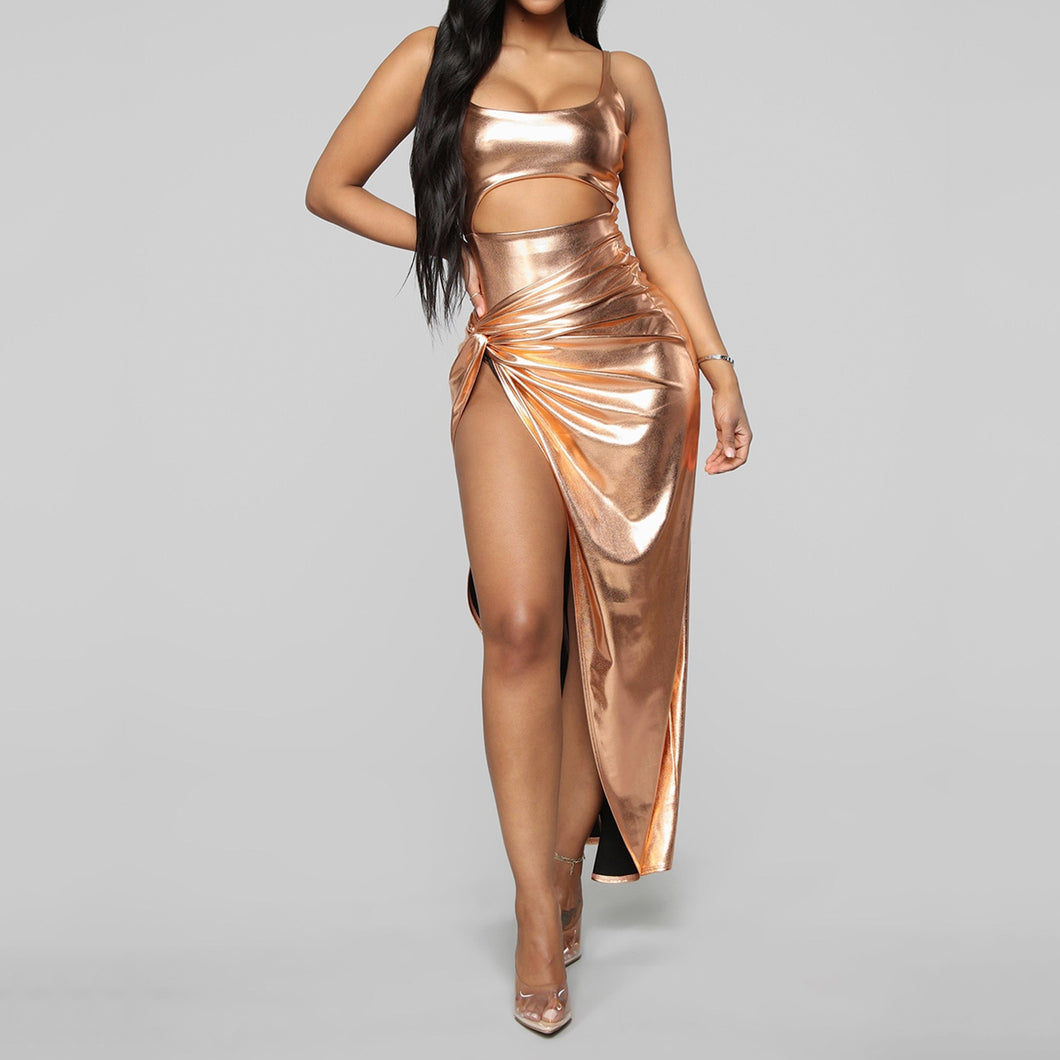 Women's Metallic Gold Sexy 2pcs Outfit