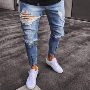 Men's Pencil Skinny Ripped Jeans