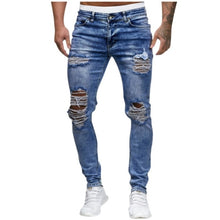 Load image into Gallery viewer, Men's Ripped Denim Skinny Jeans