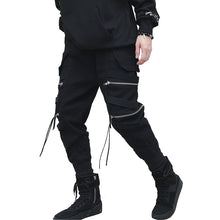 Load image into Gallery viewer, Men's Black Zipper Ribbons Cotton Joggers
