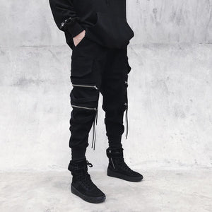 Men's Black Zipper Ribbons Cotton Joggers