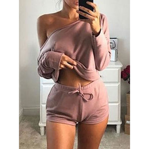 Women's 2pcs Cropped Tops Shorts Sets