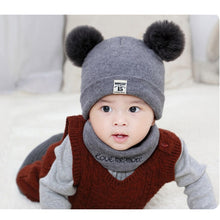 Load image into Gallery viewer, Newborn Baby Boys/Girls Warm Winter Hats Scarf Sets