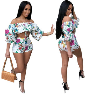 Sexy Off Shoulder Floral 2 Piece Outfit
