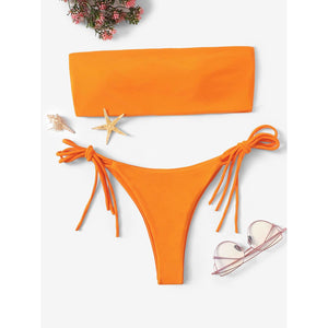 Bandeau With Tie Side Bikini Set