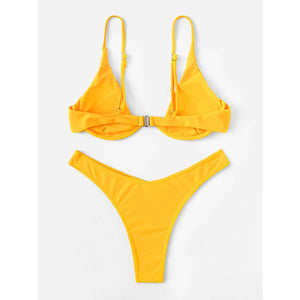Underwire Top With High Leg Bikini Set - A&M Shopping Center
