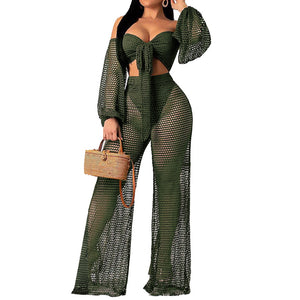 Women's Off Shoulder Swimwear Cover Up Outfit