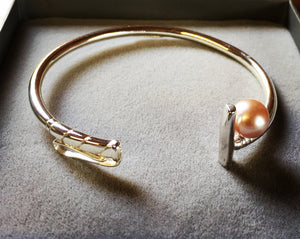 Polo Mallet Bangle set with a Pearl