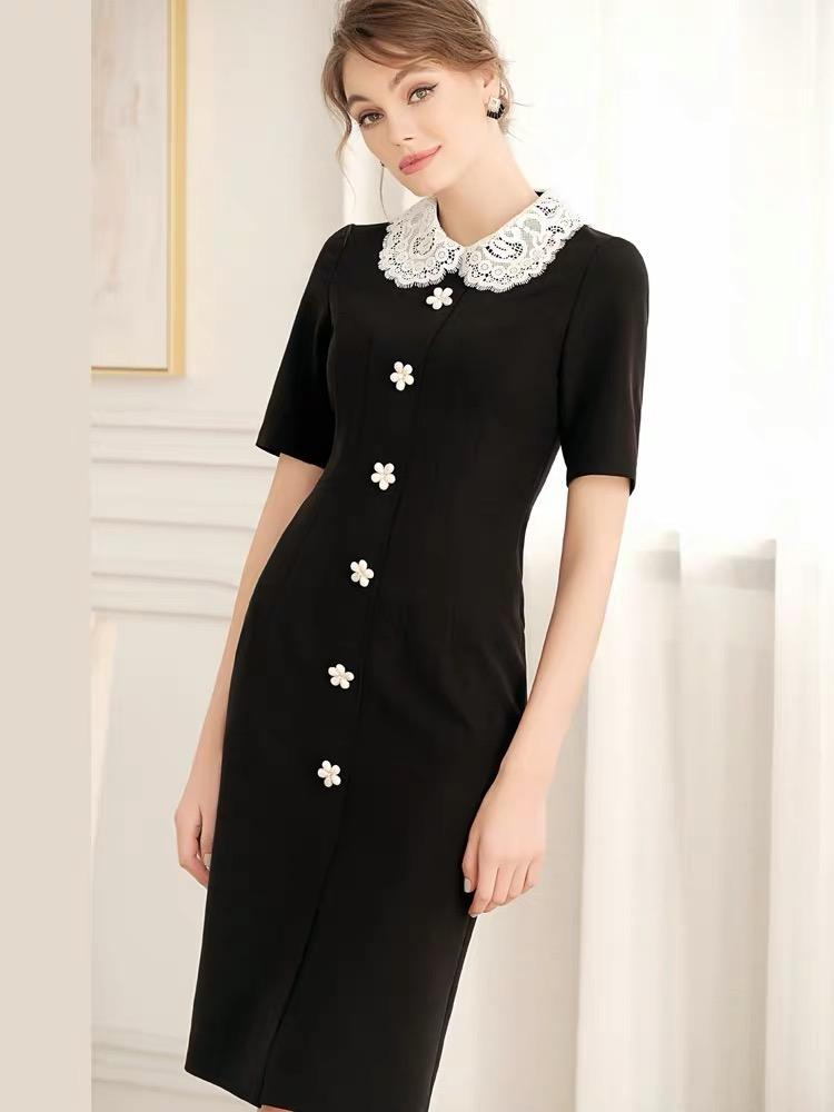 Dresses - Black Short Sleeve Suit Dress