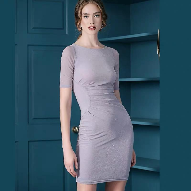 Dresses - Fashion Bright Silk Sleeves Slim Dress In Five Colors