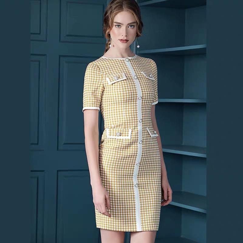 Dresses - France Style Yellow Plaid Lady Dress Suit