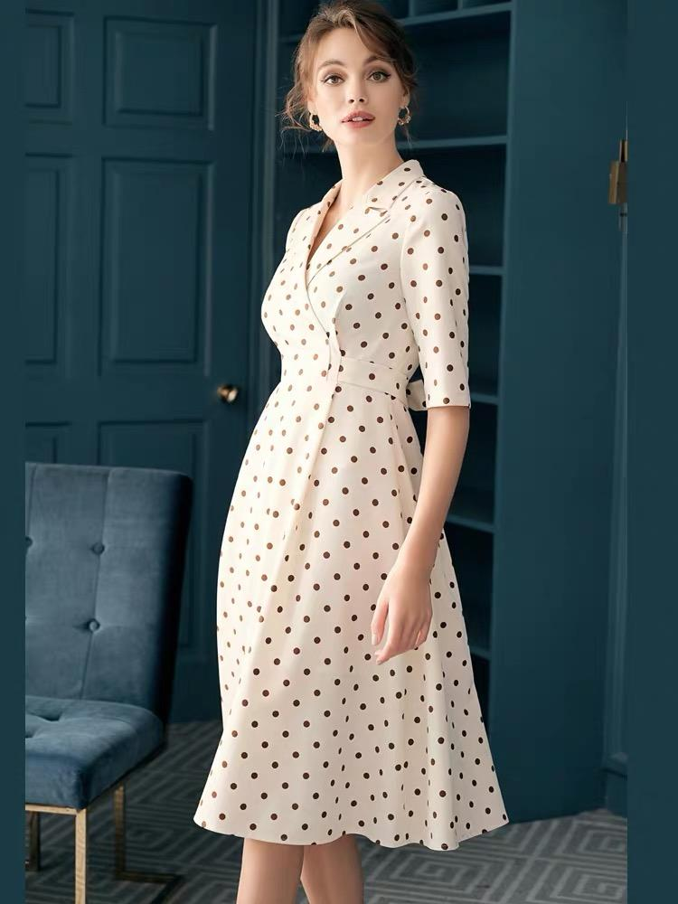 Dresses - Summer White Polka Dot Suit Skirt For OL, Original Design Of Specialty And Elegance