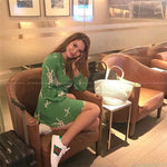 Dresses - US Brand Fashion Green Printed Slim Dress