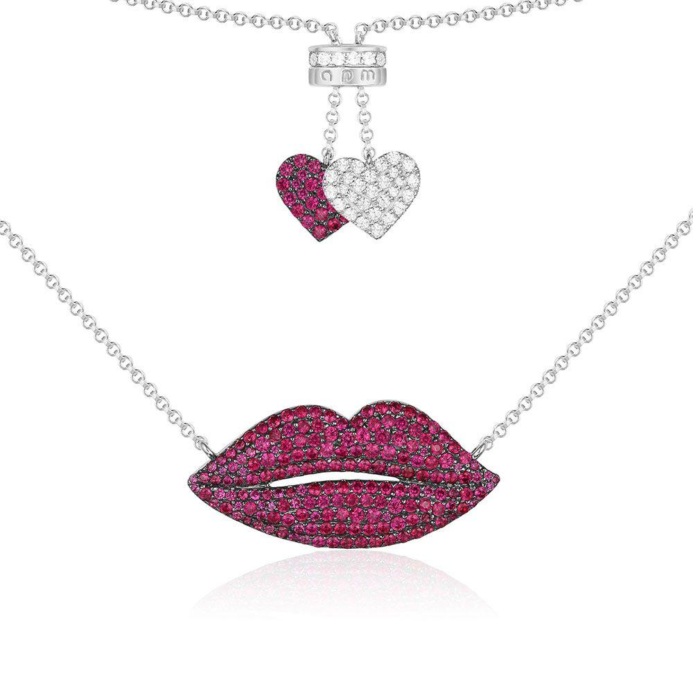 Jewelry Store - APM Monaco Red Silver Lip Necklace