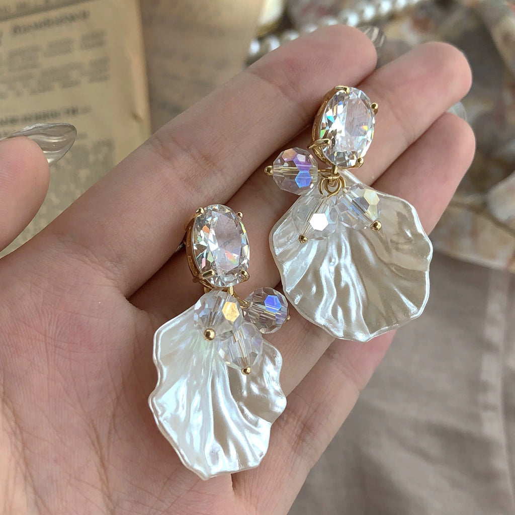 Jewelry Store - Handmade Shining Crystal Shell Petals Vintage Earrings