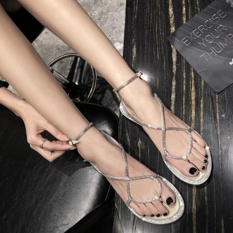 Shoes - 2019 Summer Fashion Flat Roman Sandals Is Fully Decorated With Crystal
