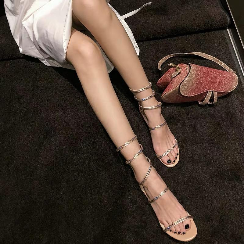 Shoes - 2019 Summer Fashion Snake-shaped Strap Czech Crystal Roman Sandals