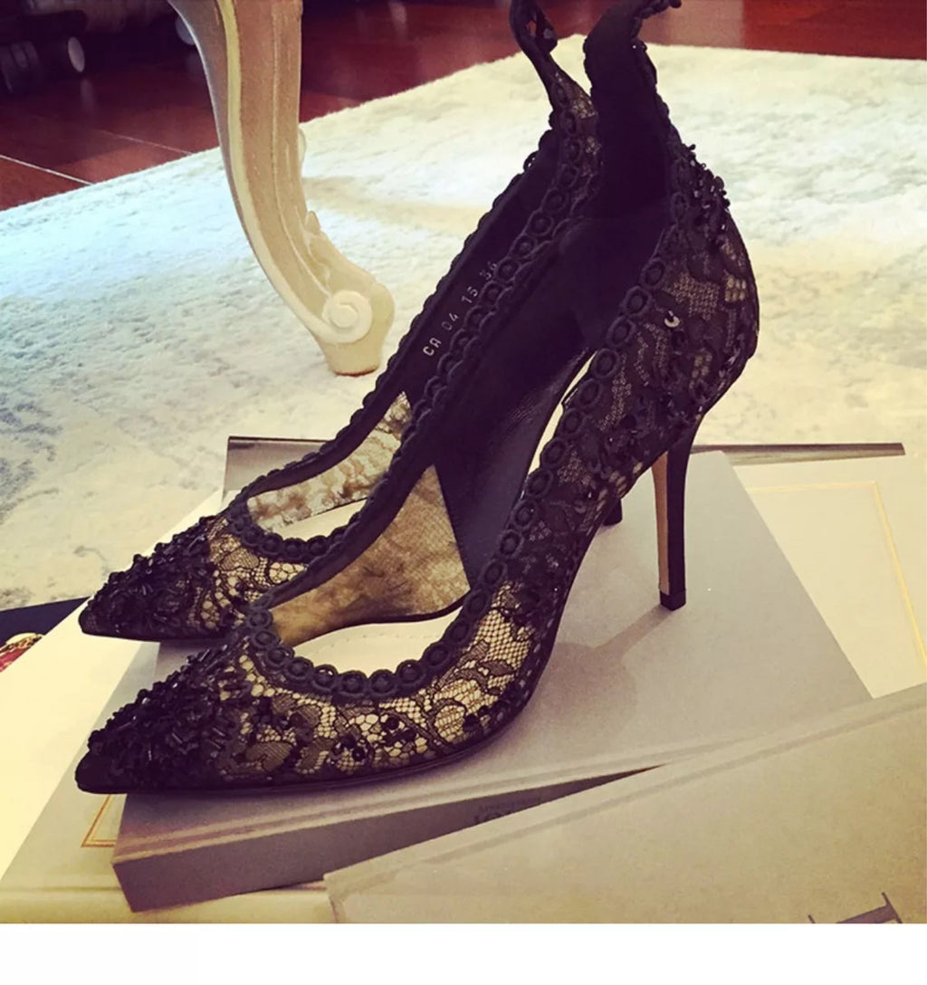 Shoes - Advanced Customized Embroidery Lace Sequins High Heels Shoes