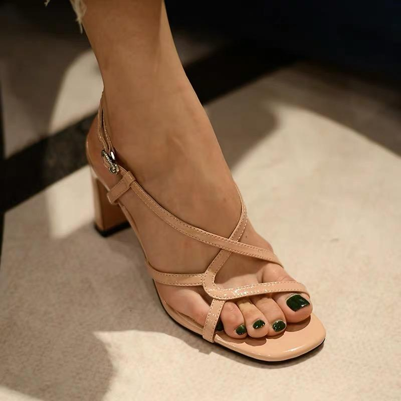 Shoes - Apricot Patent Leather High Heel Sandals