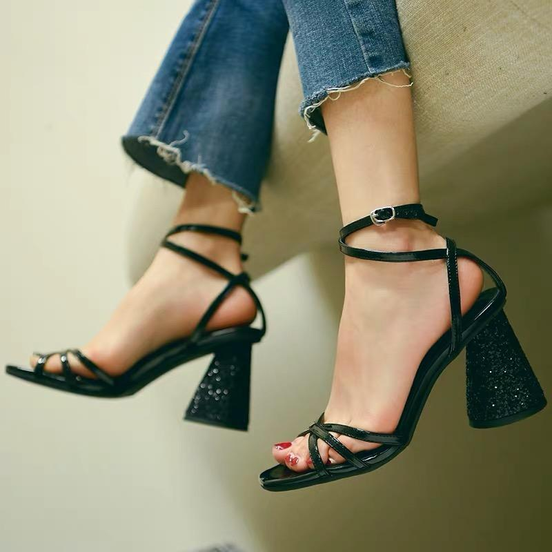 Shoes - Black Sexy Sandals With Crystal Thick Heels And Cross Straps