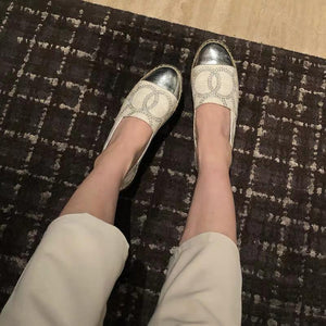 Shoes - Celebrities Stars' Hottest CHANEL Style Embroidery Tomboyish Loafers Shoes