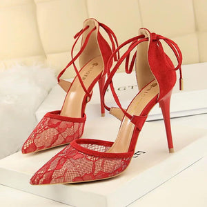 Shoes - Embroidered Lace Straps High Heeled Shoes In Six Colors