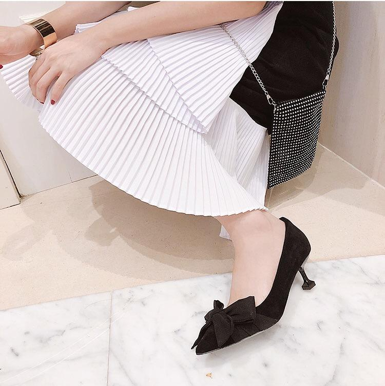 Shoes - France Black Bow Pump Heels Shoes