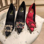 Shoes - France RV Crystal Flower Square Buckle Pointed Shoes