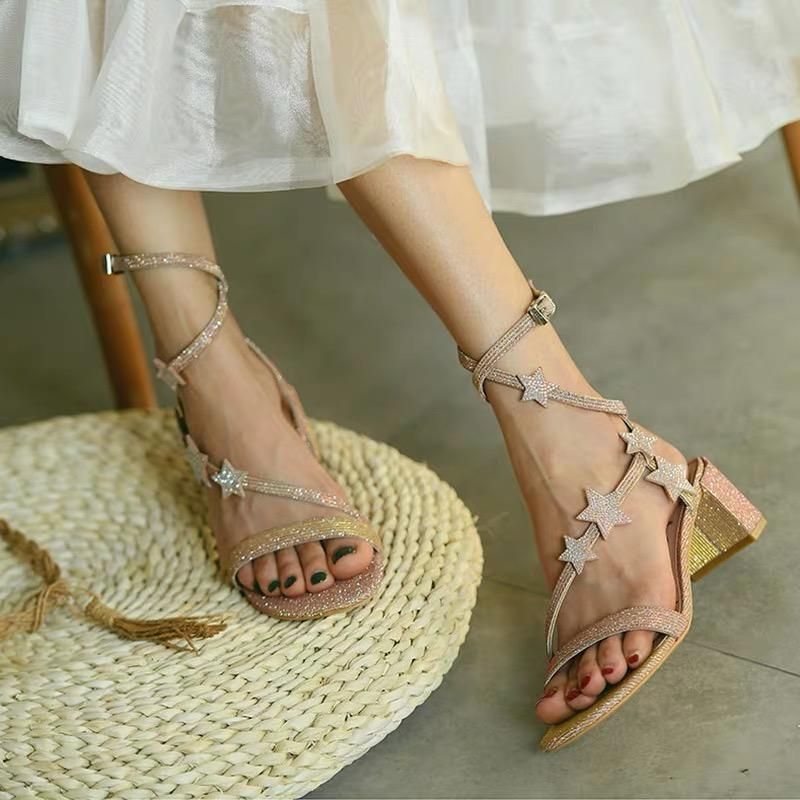 Shoes - Golden Pink Strap Sandals With Stars