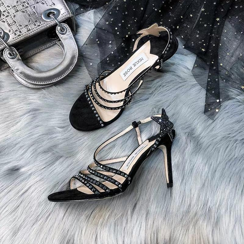 Shoes - New Arrival Crystal Heeled Sandals With The Stars In Champagne And Black