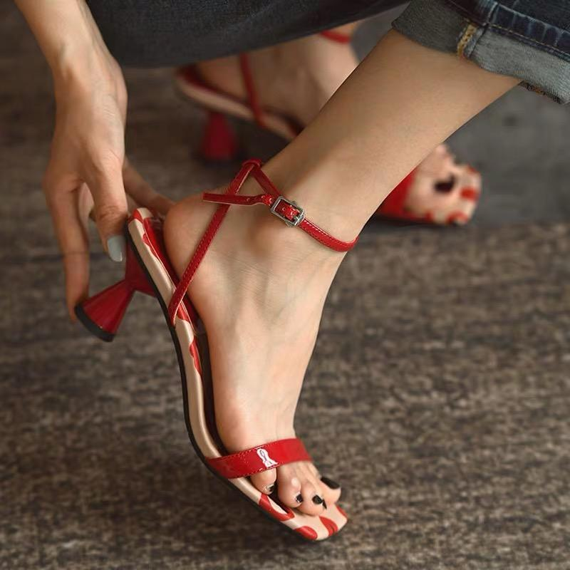Shoes - Red Cowhide Leather Strap Sandals