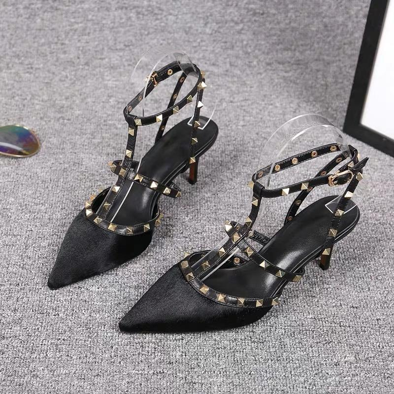 Shoes - Sexy Black Pointed Heeled Cowhide Shoes Black Is Always Popular